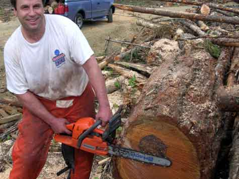 scott kimler chainsawing a big log