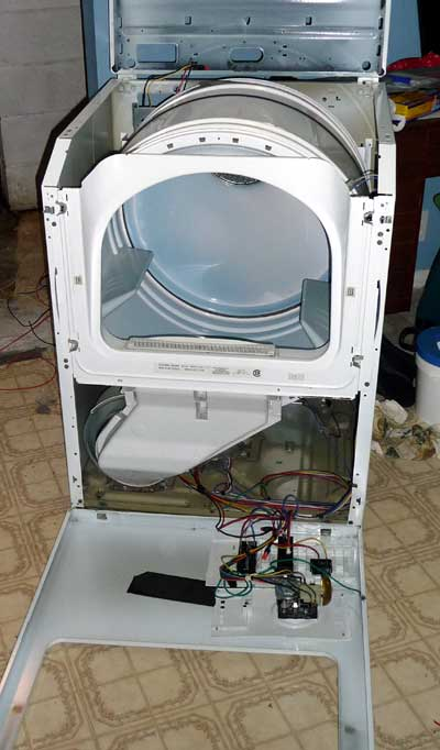 maytag dryer front panel off