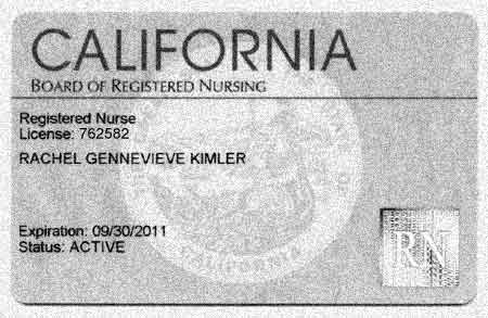 rachel's california registered nursing license