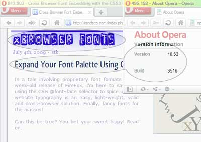 FontFace working in Opera browser version 10.63